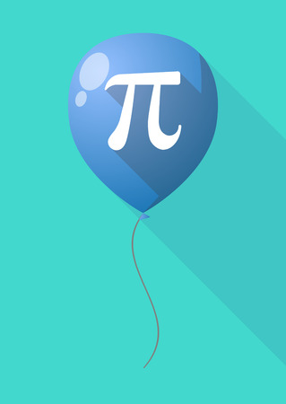 pi: Illustration of a long shadow balloon with the number pi symbol