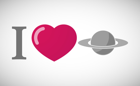 love of planet: Illustration of an I love hieroglyph with the planet Saturn Illustration
