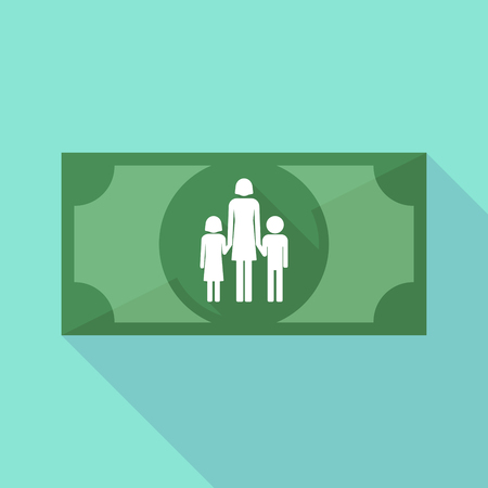 single parent: Illustration of a long shadow banknote icon with a female single parent family pictogram