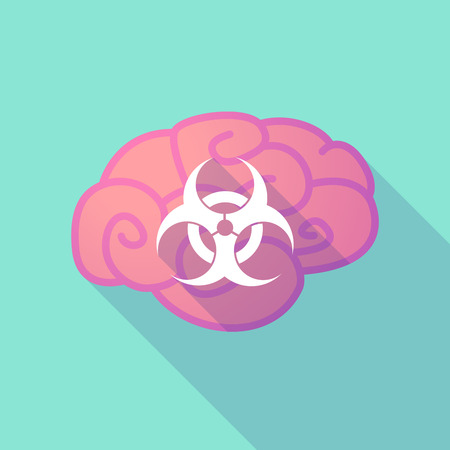 biohazard: Illustration of a long shadow brain with  a biohazard sign