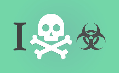 dont sign: Illustration of an I dont like hieroglyph with a biohazard sign