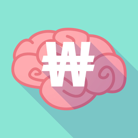won: Illustration of a pink long shadow brain with a won currency sign