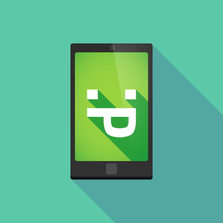 long tongue: Illustration of a long shadow phone icon with  a sticking out tongue text face Illustration