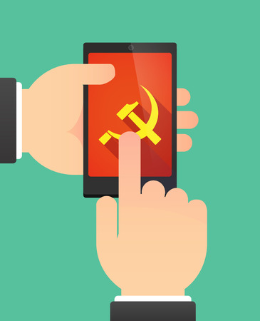 communist: Man hands using a phone showing  the communist symbol