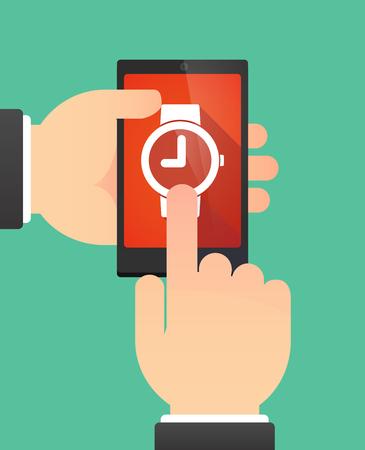 wrist hands: Man hands using a phone showing a wrist watch