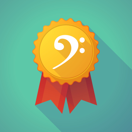 social awareness symbol: Illustration of a long shadow badge icon with an F clef Illustration