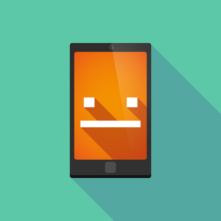 emotionless: Illustration of a long shadow phone icon with  a emotionless text face