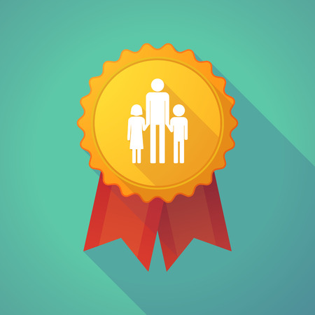 single parent: Illustration of a long shadow badge icon with a male single parent family pictogram