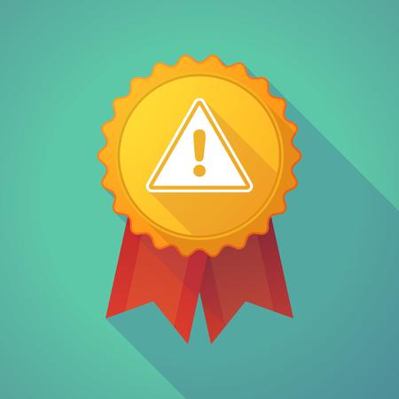 alert ribbon: Illustration of a long shadow badge icon with a warning signal Illustration