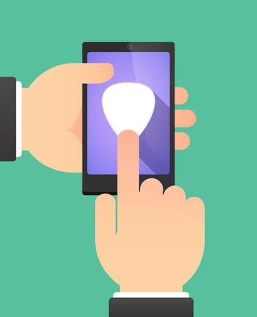 plectrum: Man hands using a phone showing a plectrum