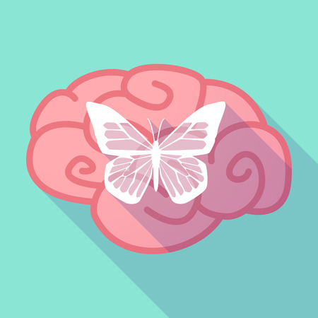 brain illustration: Illustration of a long shadow brain with  a butterfly Illustration