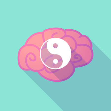 yinyang: Illustration of a long shadow brain with  a ying yang Illustration