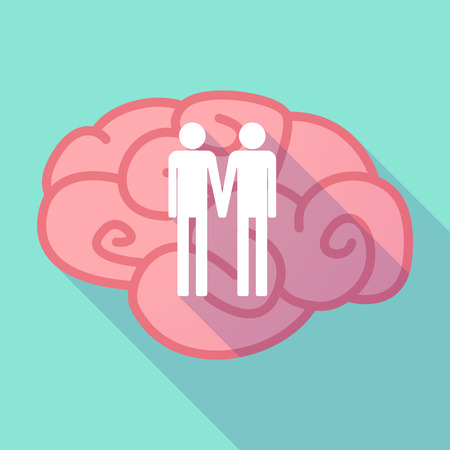 homosexual wedding: Illustration of a pink long shadow brain with a gay couple pictogram