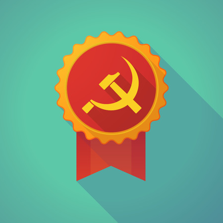 socialism: Illustration of a long shadow badge icon with  the communist symbol
