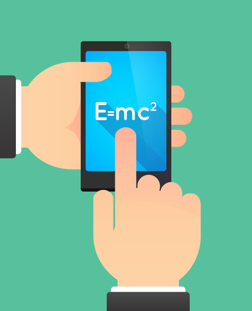 relativity: Man hands using a phone showing the Theory of Relativity formula Illustration