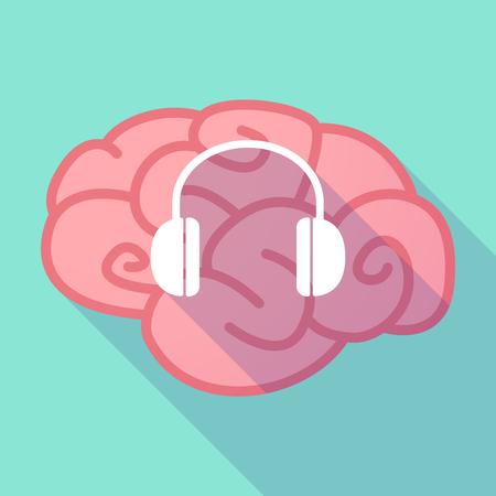 earphones: Illustration of a long shadow brain with  a earphones