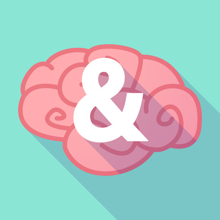 ampersand: Illustration of a pink long shadow brain with an ampersand