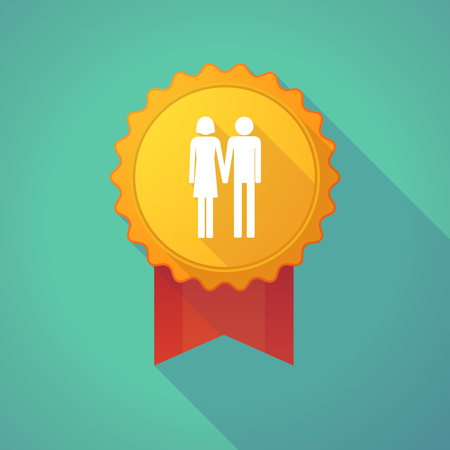 social awareness symbol: Illustration of a long shadow badge icon with a heterosexual couple pictogram Illustration