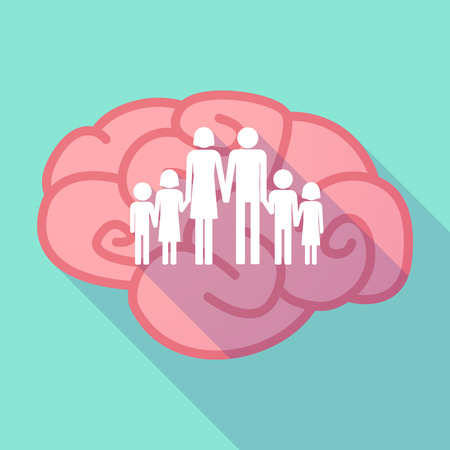 large family: Illustration of a pink long shadow brain with a large family  pictogram