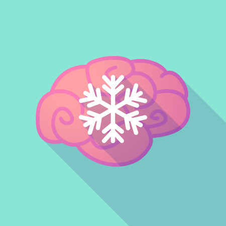 snow flake: Illustration of a long shadow brain with  a snow flake