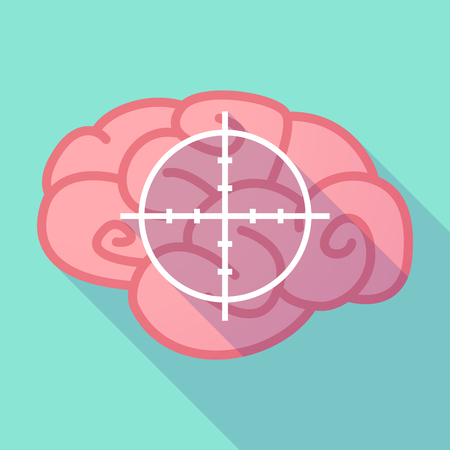 target thinking: Illustration of a long shadow brain with  a crosshair