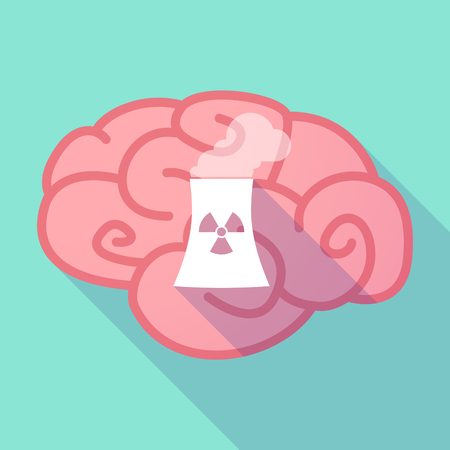 cooling tower: Illustration of a pink long shadow brain with a nuclear power station