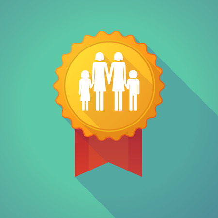 lesbian: Illustration of a long shadow badge icon with a lesbian parents family pictogram