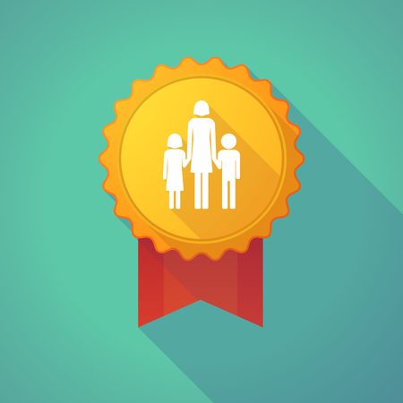 single family: Illustration of a long shadow badge icon with a female single parent family pictogram Illustration