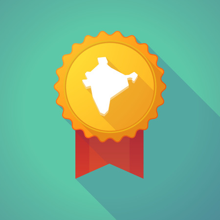 social awareness symbol: Illustration of a long shadow badge icon with  a map of India Illustration