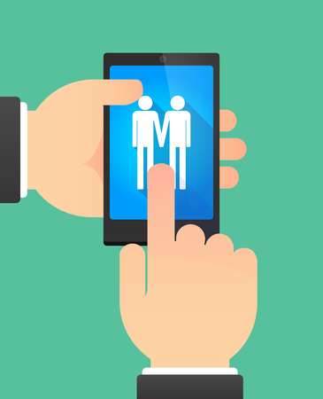 gay couple: Man hands using a phone showing a gay couple pictogram