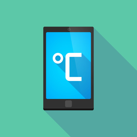 celsius: Illustration of a long shadow phone icon with   a celsius degree sign