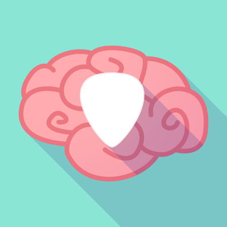 plectrum: Illustration of a pink long shadow brain with a plectrum