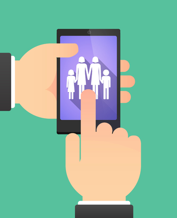 daughter cells: Man hands using a phone showing a lesbian parents family pictogram