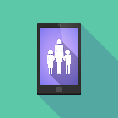 single parent: Illustration of a long shadow phone icon with  a female single parent family pictogram