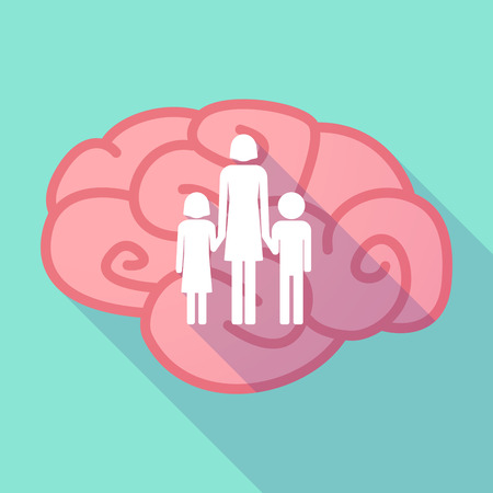 single parent: Illustration of a pink long shadow brain with a female single parent family pictogram Illustration