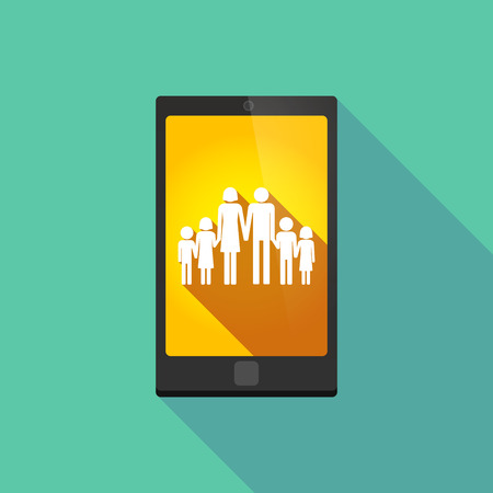 large family: Illustration of a long shadow phone icon with  a large family  pictogram