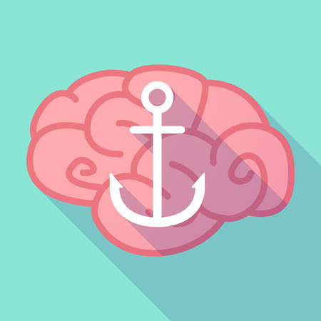 nautic: Illustration of a long shadow brain with  an anchor