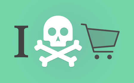 anger abstract: Illustration of an I dont like hieroglyph with a shopping cart Illustration