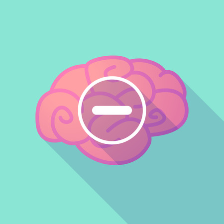 subtraction: Illustration of a long shadow brain with  a subtraction sign