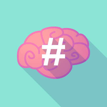 hash: Illustration of a long shadow brain with  a hash tag Illustration