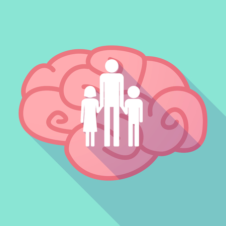 single parent: Illustration of a pink long shadow brain with a male single parent family pictogram Illustration