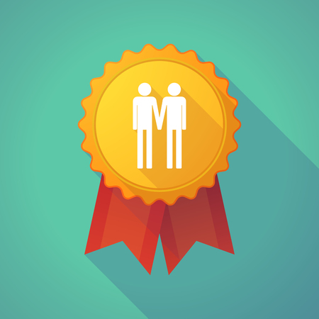 gay couple: Illustration of a long shadow badge icon with a gay couple pictogram