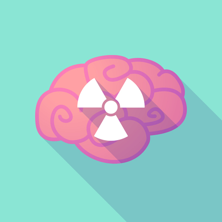 radio activity: Illustration of a long shadow brain with  a radio activity sign