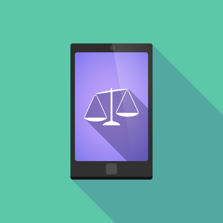 unbalanced: Illustration of a long shadow phone icon with   an unbalanced weight scale