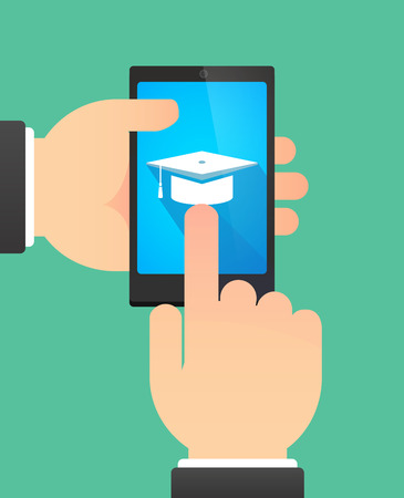 academic touch: Man hands using a phone showing a graduation cap