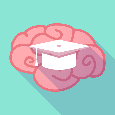 pink cap: Illustration of a pink long shadow brain with a graduation cap
