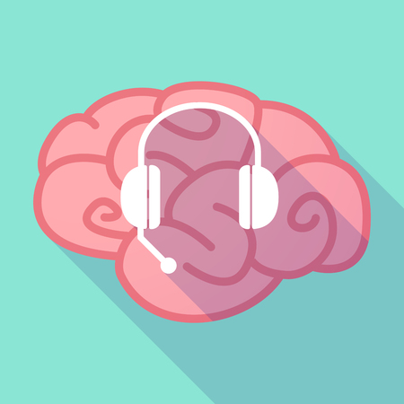 hands free phone: Illustration of a pink long shadow brain with  a hands free phone device