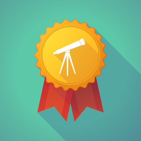 mourn: Illustration of a long shadow badge icon with a telescope