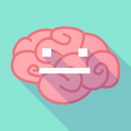 emotionless: Illustration of a pink long shadow brain with a emotionless text face Illustration