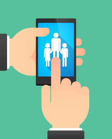 single parent: Man hands using a phone showing a male single parent family pictogram